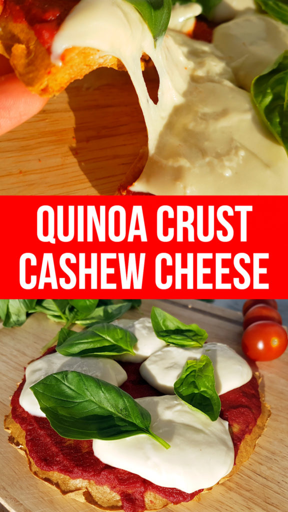 quinoa crust gluten free pizza with cashew stringy cheese