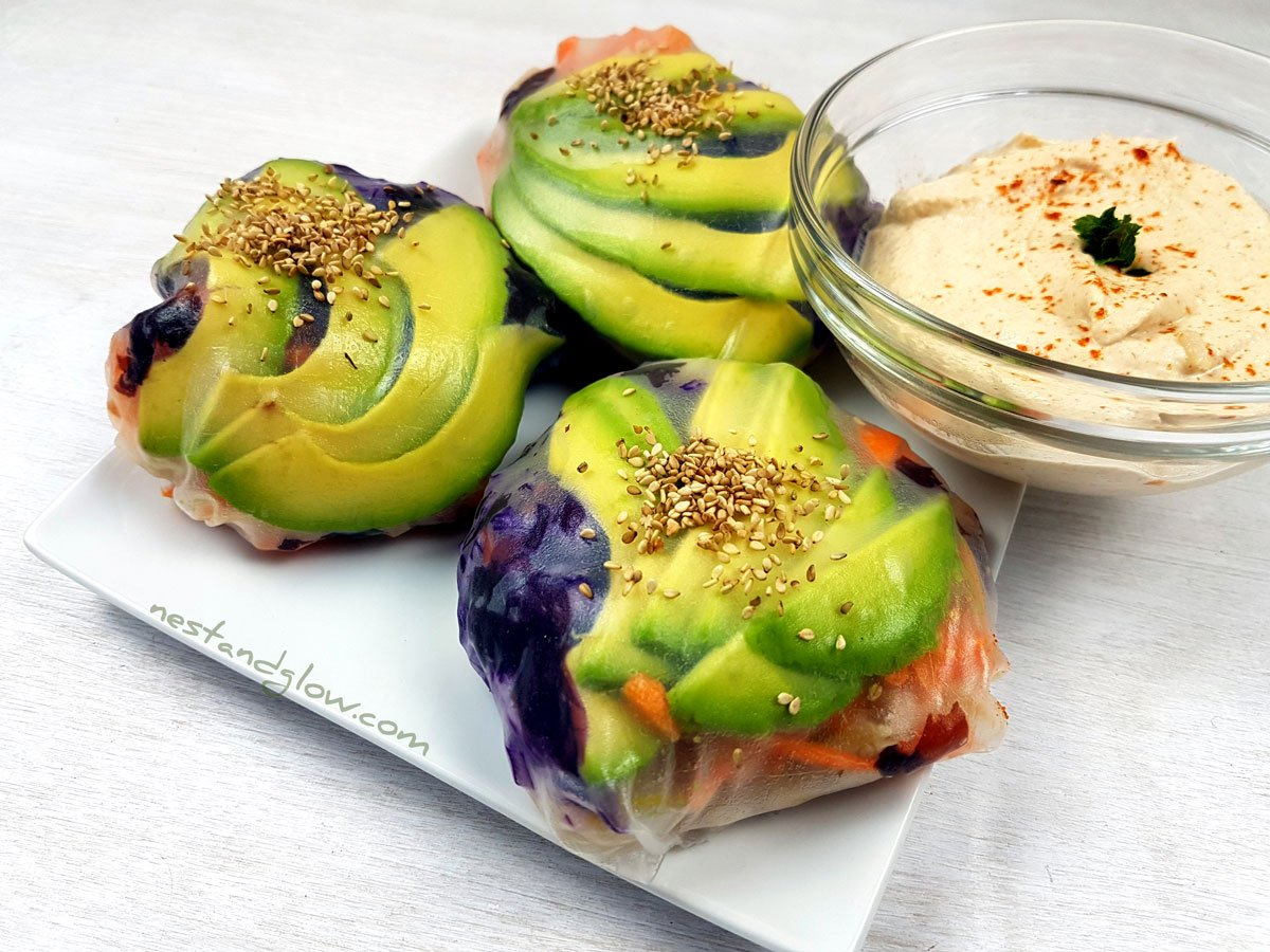 Sushi Spring Buns with Spicy Almond Dip Recipe