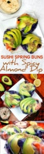 Easy to make sushi spring buns with avocado, carrot, red cabbage and seasoned brown rice