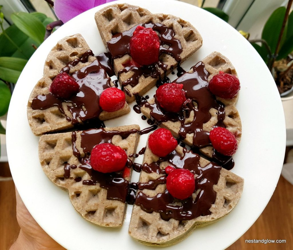Buckwheat waffles with chia eggs and coconut oil