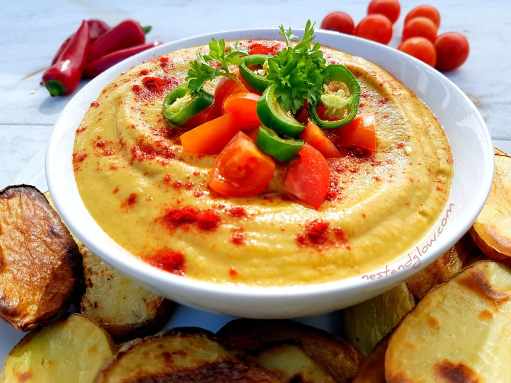 vegan Queso Cheese Dip with oil free chips