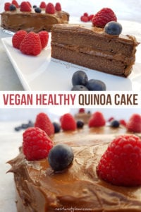 Vegan Healthy Quinoa Chocolate Cake - flour and egg free with a chocolate avocado frosting #vegan #healthy #healthycake #veganrecipe #quinoa