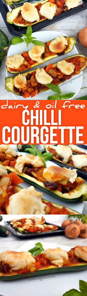 Easy to make Chilli Stuffed Courgettes with Cashew Cheese - dairy and meaf free
