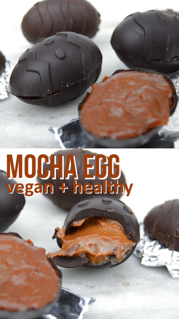 Mocha Chocolate Coffee Egg that's dairy free and healthy. Dark chocolate covers a creamy cashew coffee filling. Super easy to make and tastes amazing #veganrecipe #easter #easteregg #easterchocolate #easterrecipe
