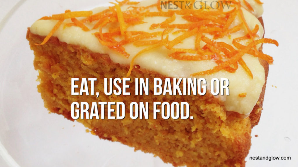 orange skin zest on cake