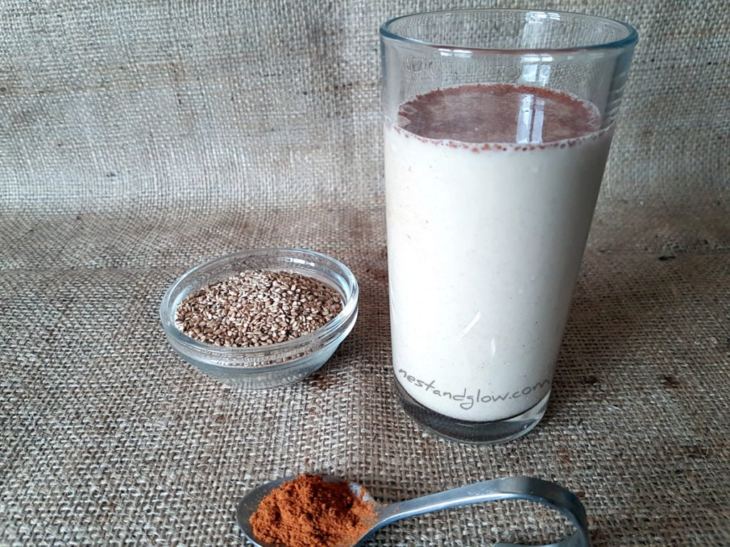a glass of Sesame Seed Cinnamon Milk