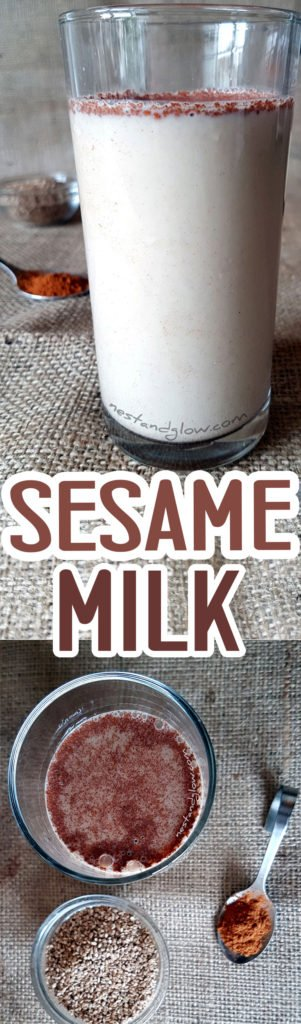Easy to make nut and dairy free Sesame Seed Cinnamon Milk