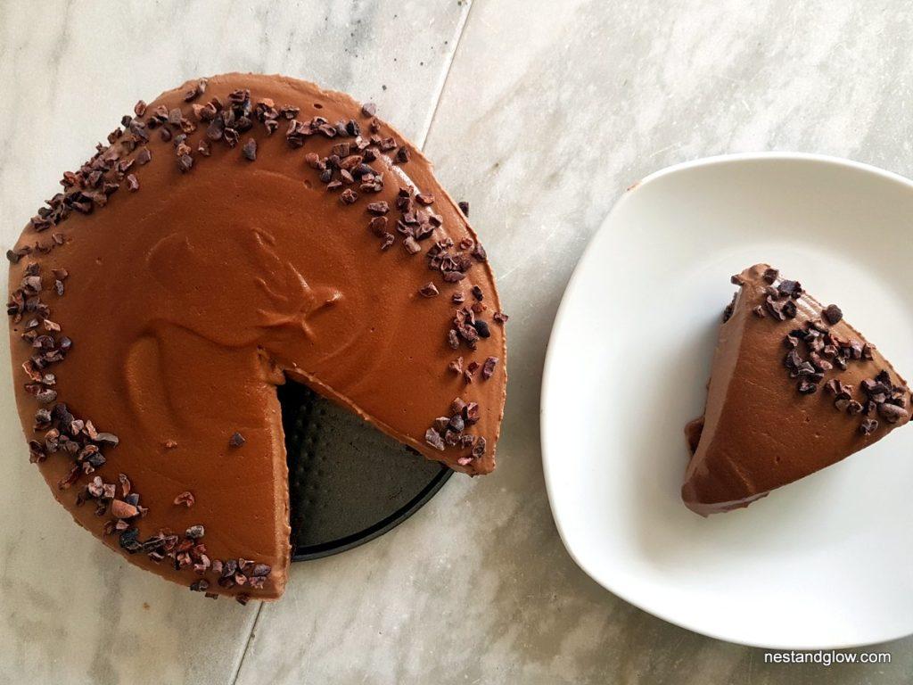 Mocha Chocolate Cashew Cheesecake With Cacao Nibs