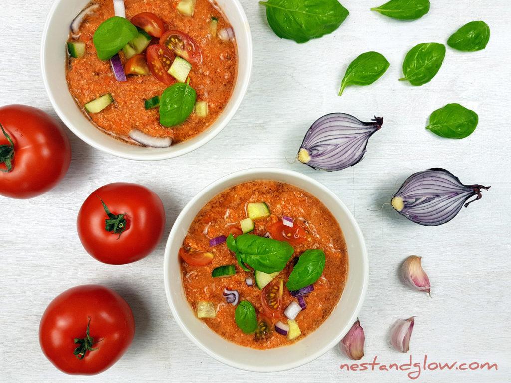 Almond Tomato Red Pepper Gazpacho Soup Recipe