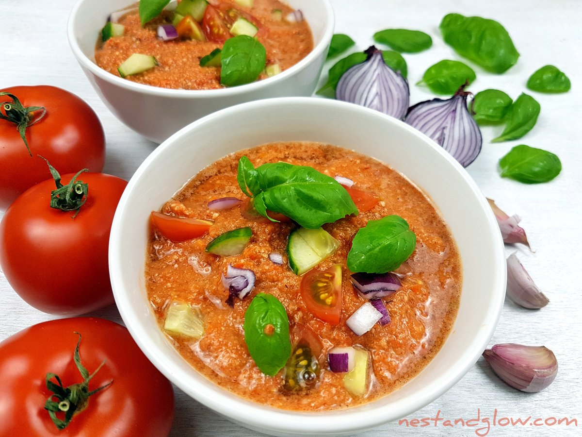 Almond Tomato Red Pepper Gazpacho Soup