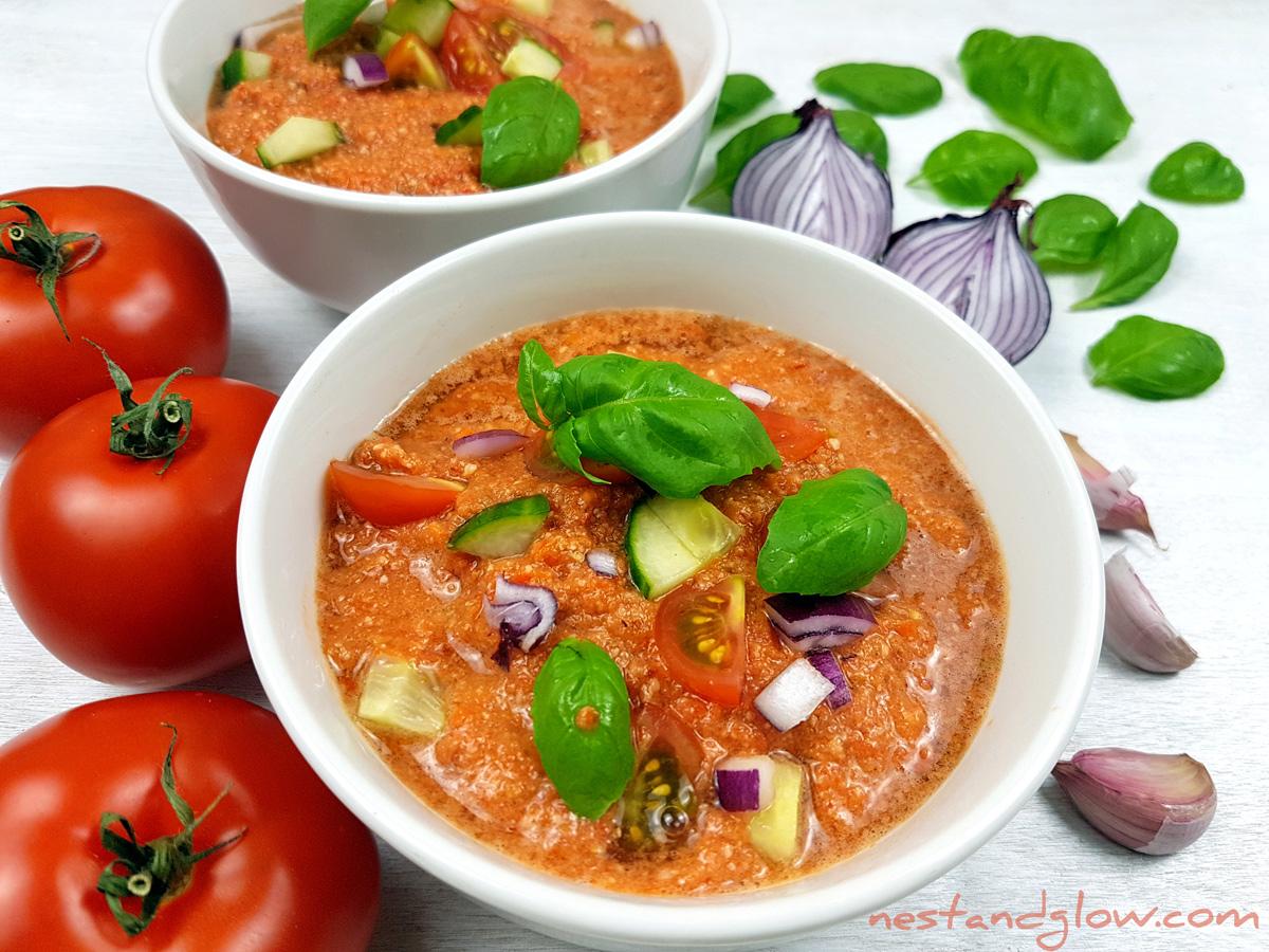 Raw Gazpacho Soup Almond Tomato Red Pepp...