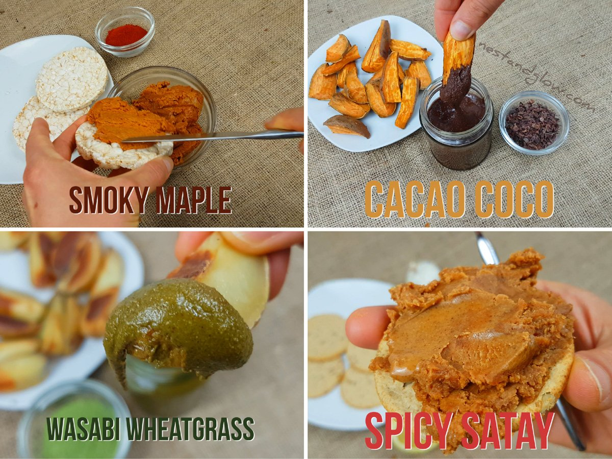 Nut Butter - Smoky Maple, Cacao Coco, Satay and Wasabi Wheatgrass Recipe