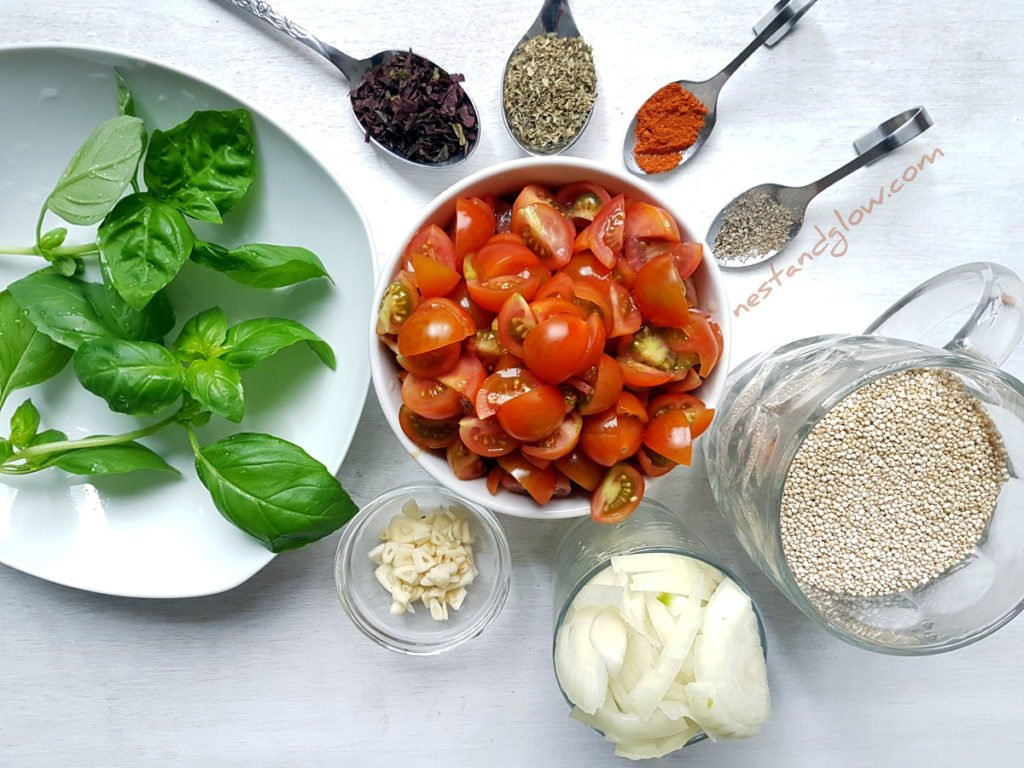 One-pot Tomato BasilQuinoa Ingredients