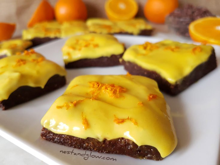 Raw Chocolate Orange Frosted Brownies