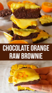 Raw Chocolate Orange Brownies with Cashew Orange Frosting Recipe - Vegan, Gluten-free and Paleo #raw #vegan #veganrecipe #healthyeating #glutenfree