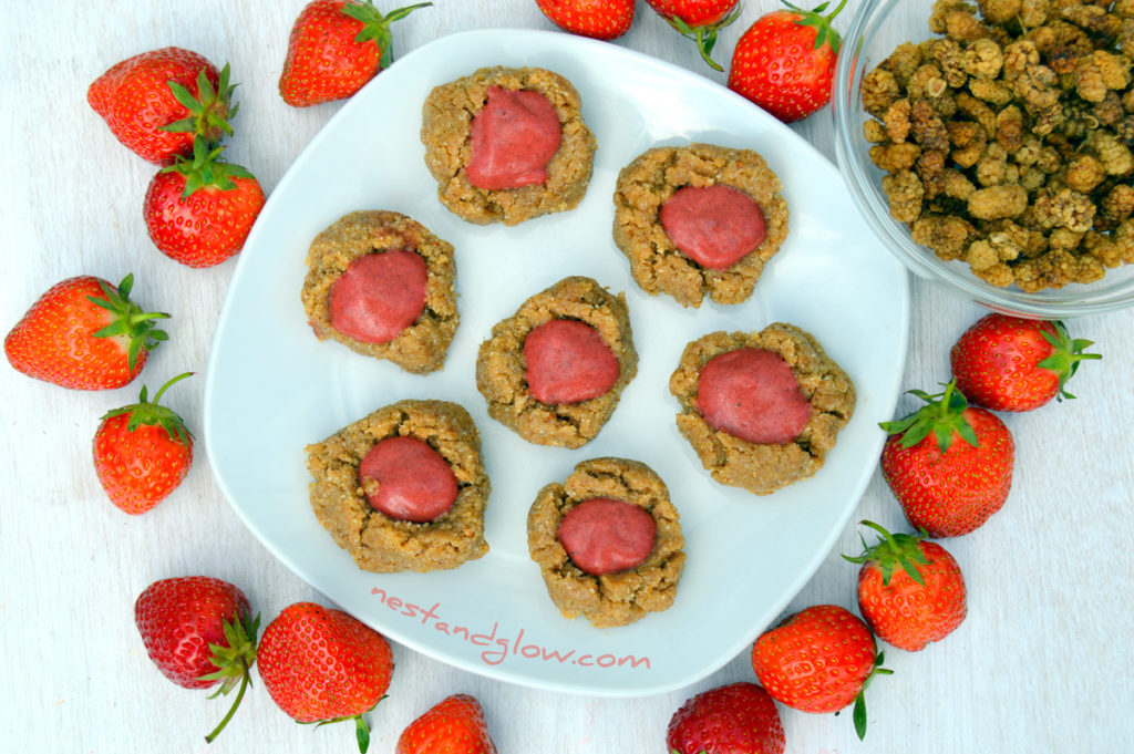 Raw Vegan Strawberry Thumbprint Cookies