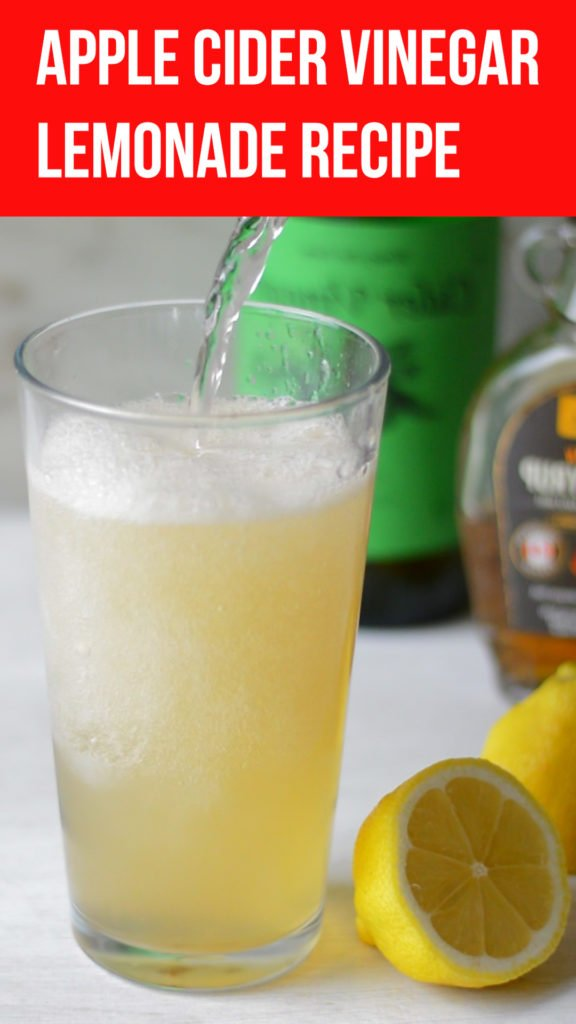 A really tasty lemonade that's made with fresh lemon juice and gut healthy apple cider vinegar. A great way to get the health benefits of this vinegar in a really tasty drink. Tastes a bit like komchuchabut can be made in seconds. #healthy #applecidervinegar #healthyrecipe #healthy