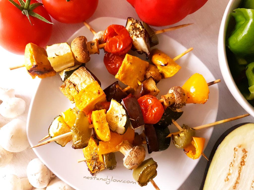 Chickpea TofuMediterranean Vegetable Kebabs