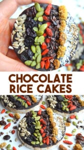 Chocolate Rice cakes with seeds and fruit. A healthy treat with dark chocolate, brown rice, seeds and fruit. A healthy treat that is filled with good stuff and nut free #healthytreat #veganrecipe #healthy #vegan #plantbased