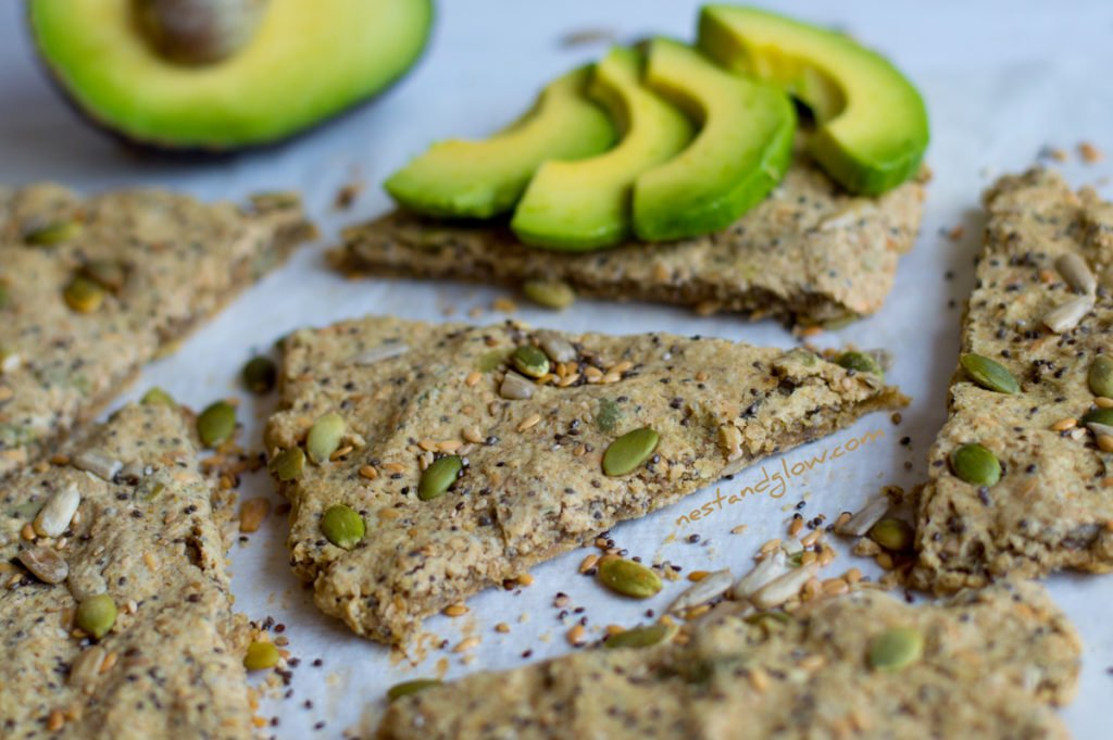 Five Seed Oatcakes with avocado