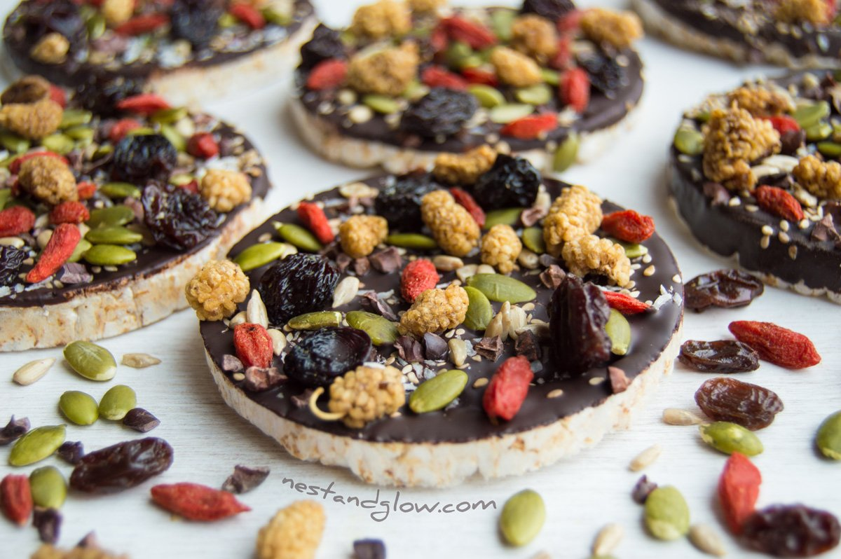 Fruit and Seed Chocolate Rice Cakes Recipe