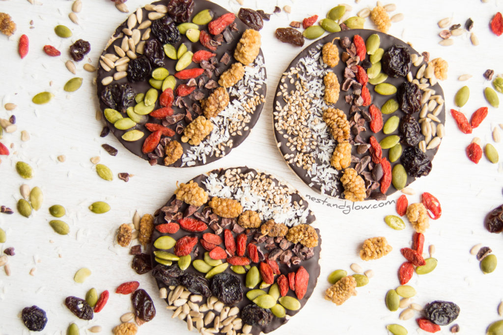 Goji Berry and pumpkin seed Chocolate Rice Cakes