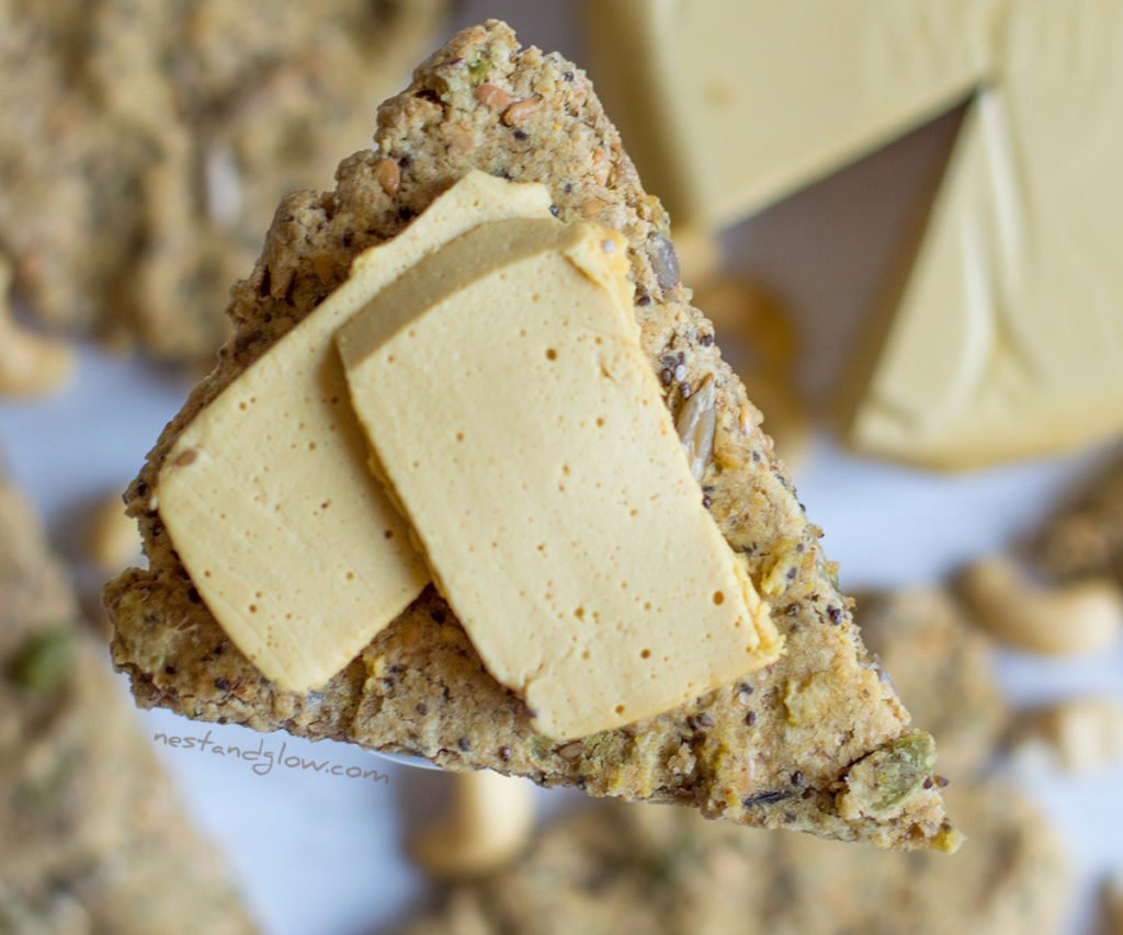 Marmite Cashew Cheese on five seed oat cakes