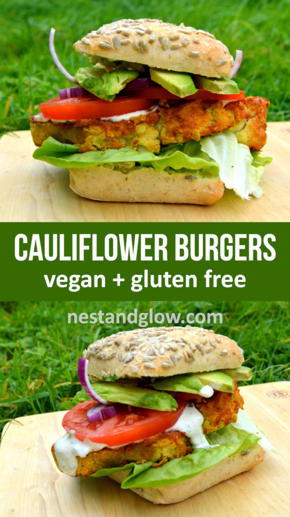 Cauliflower Burger with Spicy Chickpeas - gluten free and high protein vegan burger. Slices of cauliflower are breaded in chickpeas and baked with chilli to make a gluten free burger. With raw ranch dressing #veganrecipe #healthy #glutenfree #burger #healthyrecipe