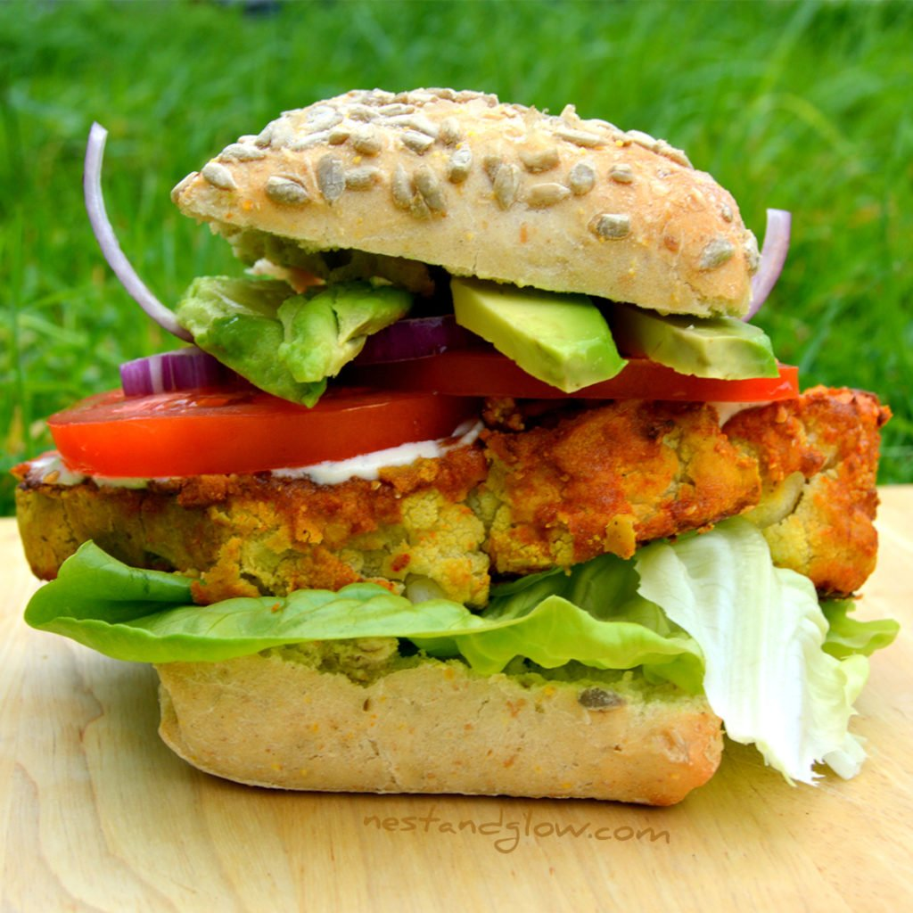 Chickpea Cauliflower Spicy Burger | Gluten-free & Vegan