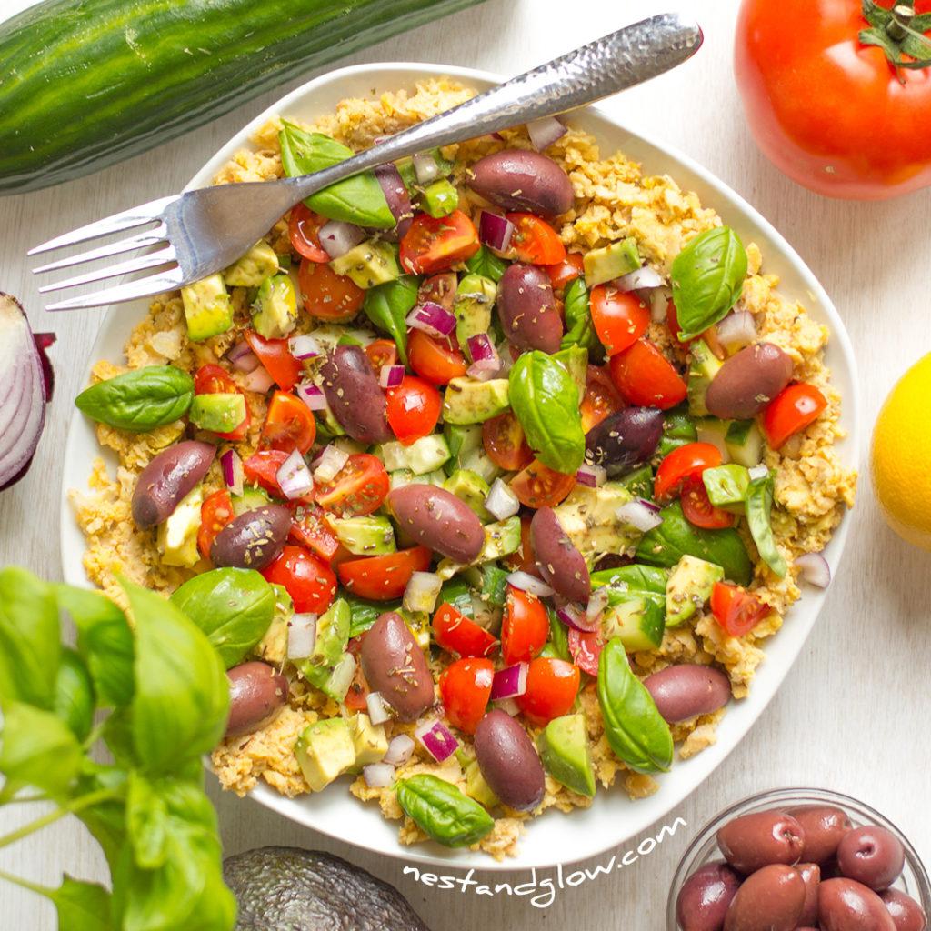 Crushed Chickpea Hummus Mediterranean Lemon Salad