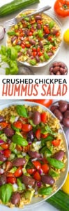 Crushed Chickpea Hummus Mediterranean Salad Recipe - Easy and No-cook