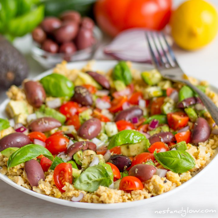 Crushed Chickpea Hummus Mediterranean Salad Recipe