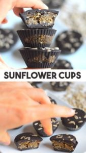 Sunflower Chocolate Caramel Cups - simple recipe for healthy dairy and nut free chocolate cups. Full of plant protein from sunflower seeds. Can be made raw vegan with a raw chocolate mixture. Use any chocolate that you like or other seeds / nut if you prefer #vegan #veganrecipe #recipe #healthy