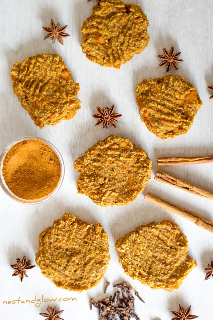 banana oat pumpkin cinnamon spiced cookies