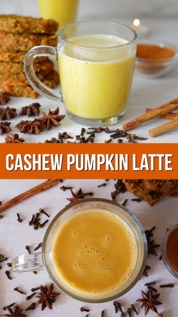 Pumpkin spice cashew latte - easy to make and vegan coffee drink made from fresh pumpkin and sweetened naturally #vegan #veganrecipe #healthyrecipe #plantbased