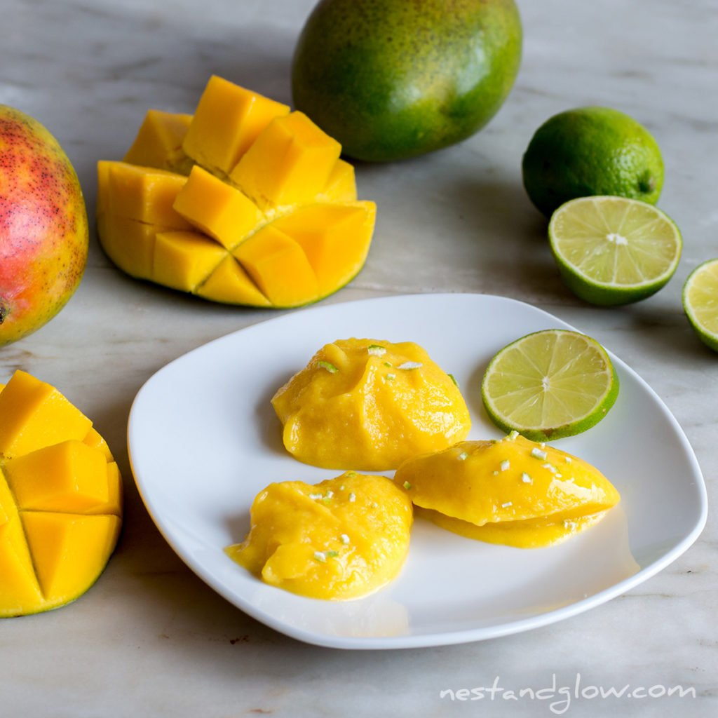 fresh lime and mango no added sugar sorbet