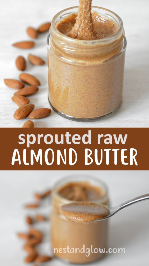 Sprouted Almond butter is made by soaking and activating almonds in salted water. It's a far healthier version of peanut butter and raw if you dry the almonds. Full of nutrition and easy to digest #vegan #paleo #healthyrecipe