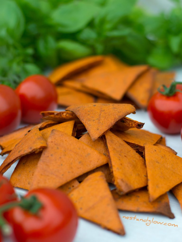 Healthy Tomato and Basil Lentil Chips
