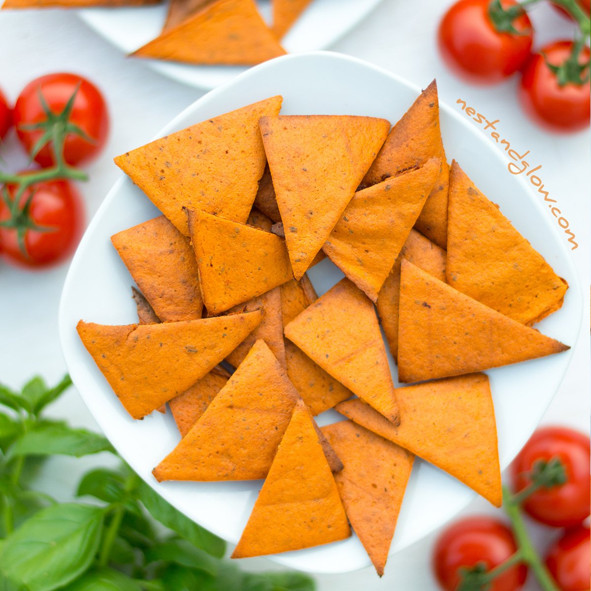 tomato and basil lentil chips recipe oil free and healthy