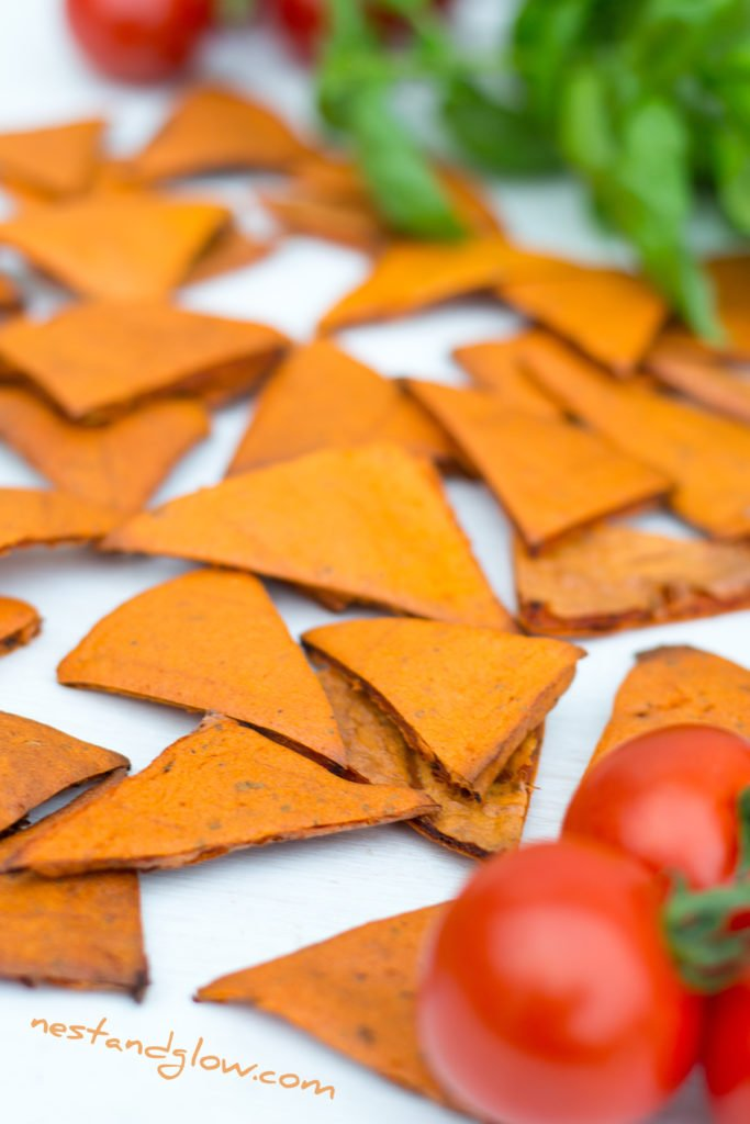 Tomato and Basil Healthy Lentil Chips