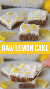 Raw lemon cake made without any flour, syrups, butter, dairy, eggs or refined sugar. Easy and healthy cake just made from fruit and seeds.