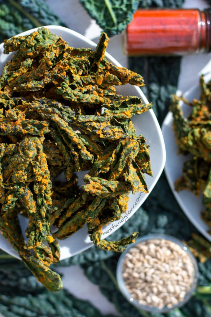 Easy nut free vegan cheese kale crisps