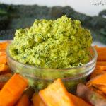 Kale Hummus and Sweet Potato Chips