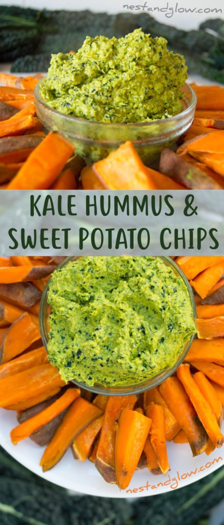 Kale Hummus and Sweet Potato Chips Healthy Recipe