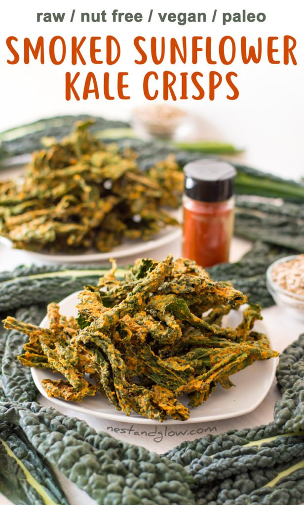 Smoked Sunflower Seed Kale Crisps Recipe - Raw, Vegan, Gluten-free, Nut-free and Paleo