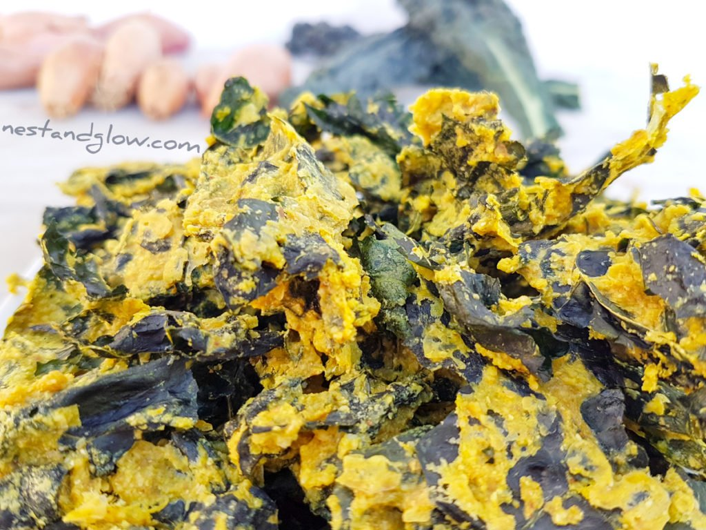 Easy Vegan cheesy nut-free kale crisps