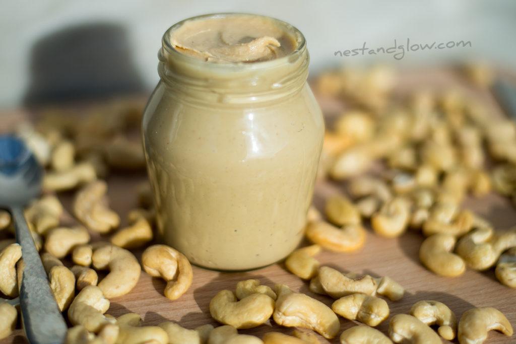 Homemade Cashew Nut Butter is best refrigerated