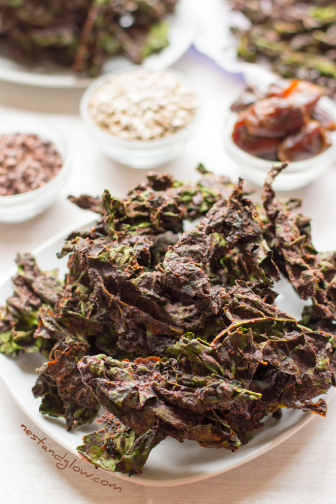 healthy chocolate kale chips