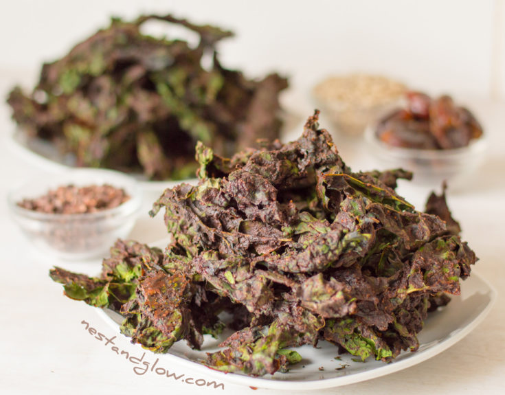 Chocolate Kale Chips - vegan and nut free