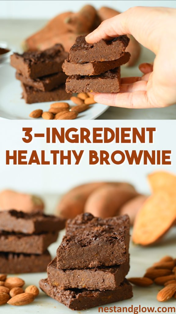 3 Ingredient Healthy Brownies Recipe - easy sweet potato chocolate brownies made from just a few ingredients and loaded with good stuff. This vegan recipe is foolproof to make and naturally gluten free